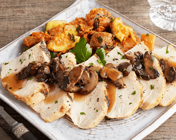 Low Carb Grilled Chicken with Portobello Mushroom Sauce