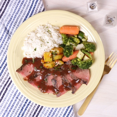 Korean BBQ Flank Steak with Cucumber Kimchi, Jasmine Rice and Asian Vegetables