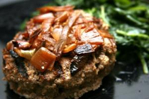 Bison Burger with Sauteed Onions (P) with Spinach (P)