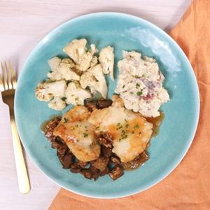 Chicken Sorrentino with Mashed Potatoes and Cauliflower