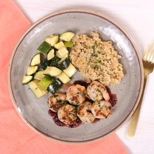 Cranberry Orange Grilled Shrimp with Quinoa and Zucchini