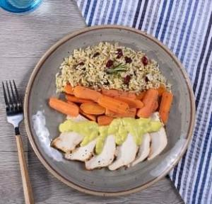 Sweet Curry Chicken with Herbed Brown Rice with Dried Cranberries with Carrots