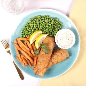 Fish and Chips with Minted Peas and Herb Remoulade