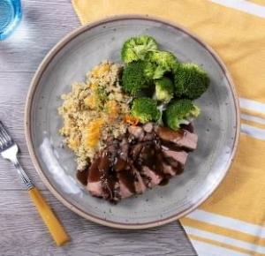 Sliced Flank Steak with Citrus Quinoa with Broccoli