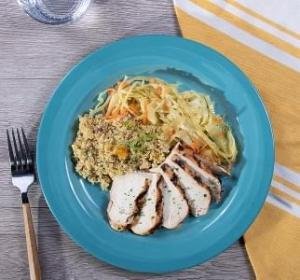 Grilled Chicken with Citrus Quinoa with Cabbage