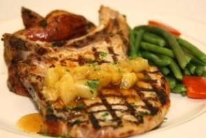Grilled Pork Chop with Pineapple Sauce (P) with Cauliflower Florets (P)