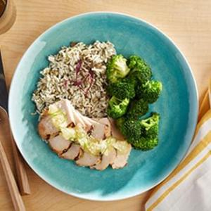 Pineapple Coconut Grilled Chicken with Herb Lentil Rice with Broccoli