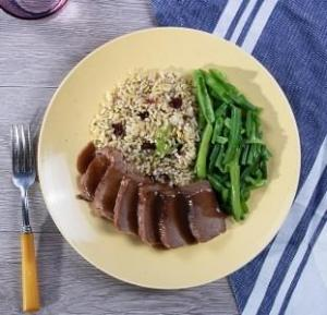 Homestyle Brisket with Herbed Brown Rice with Dried Cranberries with Green Beans