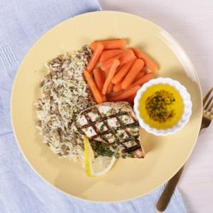 Grilled Swordfish with Lentil Rice and Honey Glazed Carrots