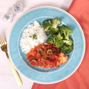 Tilapia Veracruz with Jasmine Rice and Broccoli