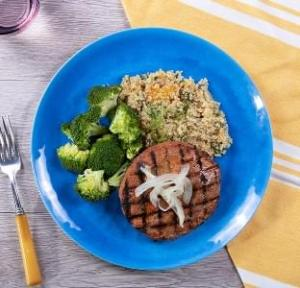 Turkey Burger with Swiss with Citrus Quinoa with Broccoli