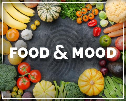 """grey background with words """"food & mood"""" surrounded by fruits and veggies"""