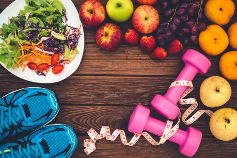 fruits and vegetables, running shoes, and hand weights