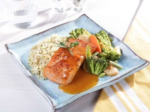 Mandarin Orange Ginger Salmon with Brown Rice and Asian Vegetables