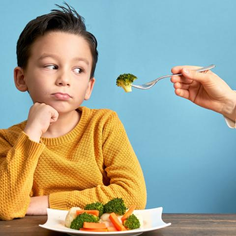 boy being offered broccoli