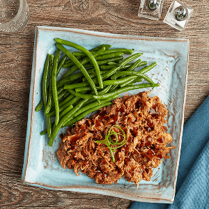 BBQ Pulled Pork (P) with Green Beans (P)