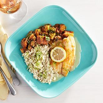 Baked Tilapia with Lemon Sauce with Herb Lentil Rice with Cauliflower Florets