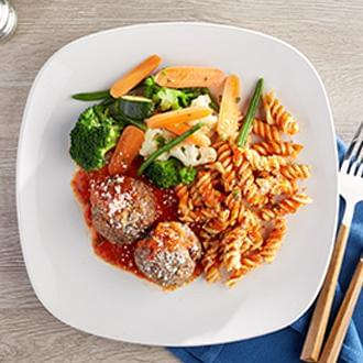 Meatballs Marinara with Rotini Pasta with Green Beans