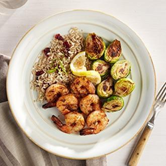 Cajun Grilled Shrimp Skewers with Citrus Quinoa with Cauliflower Florets