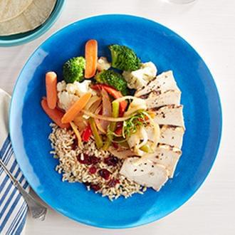 Chicken Fajitas with Vegetable CousCous with Green Beans