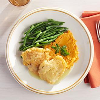Breast of Chicken Francaise with Lemon Sauce with Sweet Potatoes with Carrots