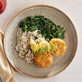 GOURMET LINE: Seared Lump Crab Meat Cakes with Herb Lentil Rice with Spinach