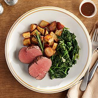 GOURMET LINE: Filet Mignon, The Most Tender of Steaks with Cauliflower Florets with Spinach