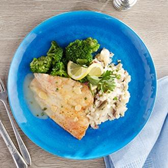 PREMIUM LINE:  Flounder Almondine with Herb Lentil Rice with Zucchini