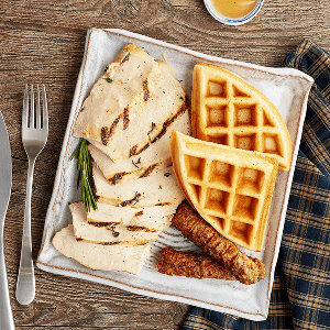 Grilled Chicken & Waffles (P) with Turkey Sausage (P)