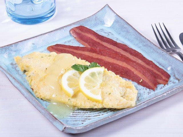 Keto: Flounder Francaise with Lemon Sauce with Turkey Bacon