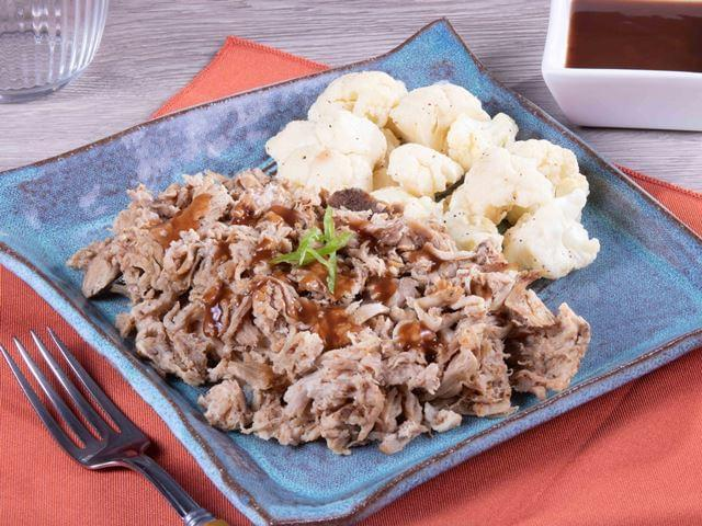 Keto: Pulled Pork with Smokey BBQ Sauce with Cauliflower Florets