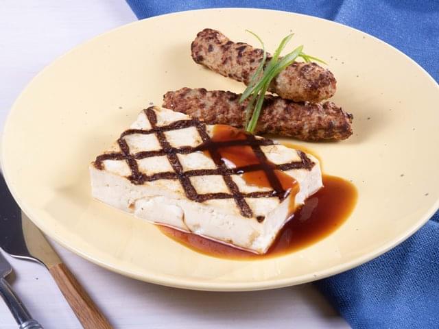 Keto: Tofu with Teriyaki Sesame Sauce with Pork sausage