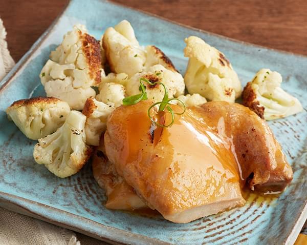 Keto: Baked Chicken Thigh with Teriyaki Sesame Sauce with Cauliflower Florets