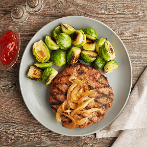 Open Faced Turkey Burger (P) with Brussel Sprouts (P)