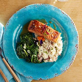 Asian Sesame Salmon with Smashed Red Skin Potatoes with Butter with Spinach