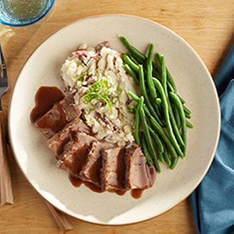 Roasted Brisket of Beef with Smashed Red Skin Potatoes with Butter with Green Beans
