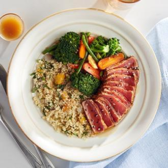 Seared Ahi Tuna with Citrus Quinoa with Asian Blend
