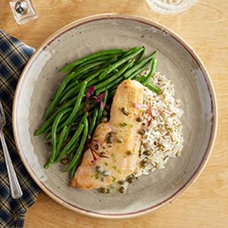 PREMIUM LINE:  Seared Haddock  with Herb Lentil Rice with Green Beans