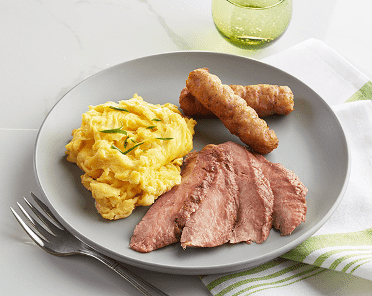 Sliced Flank Steak & Eggs (P) with Pork sausage (P)