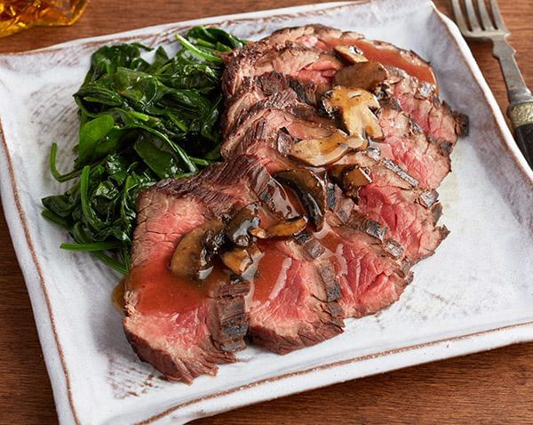 Keto: Sliced Flank Steak with Marsala with Spinach