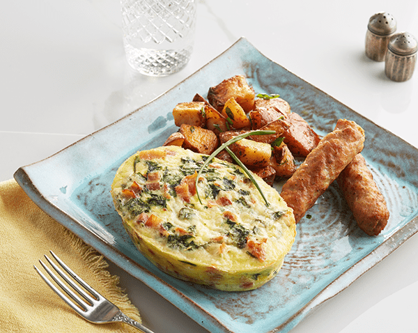 Spinach, Egg and Bacon Frittata with Roasted Breakfast Potatoes with Pork sausage