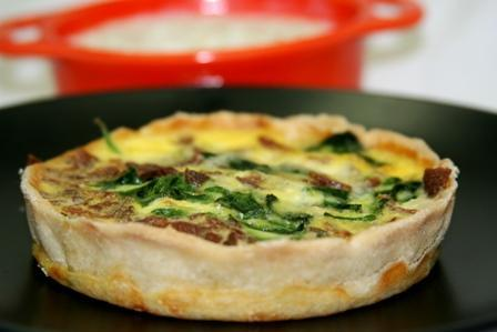 Spinach and Egg Quiche with Oatmeal with Pork sausage