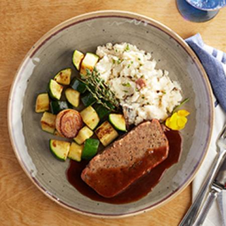 Homestyle Meatloaf with Mashed Yukon Gold Potatoes with Zucchini