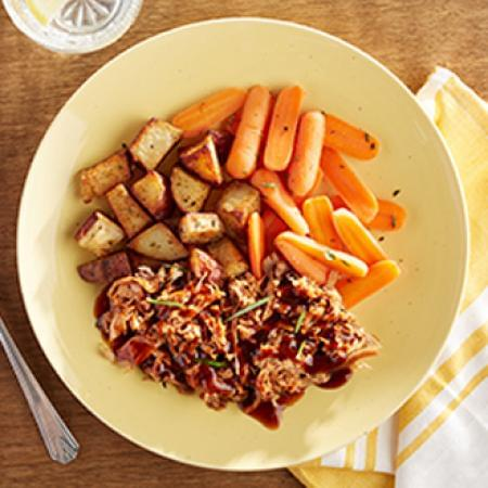 BBQ Pulled Pork with Herb Roasted Red Potatoes with Carrots