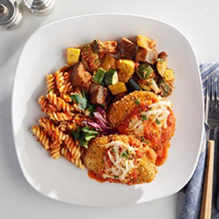 Chicken Parm with Rotini Pasta with Ratatouille