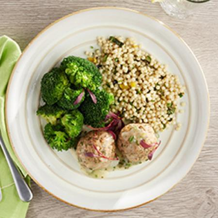 Lemon Ginger Turkey Meatballs with Vegetable CousCous with Broccoli