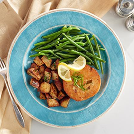 Salmon Burger with Herb Roasted Red Potatoes with Green Beans