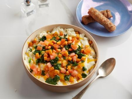 Egg White Spinach and Yam Scramble